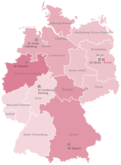 Map shows location of Kooperationsgemeinschaft Mammographie and the five reference centers with their assigned region of responsibility