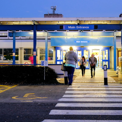 The main entrance of the Royal Preston Hospital in North West England