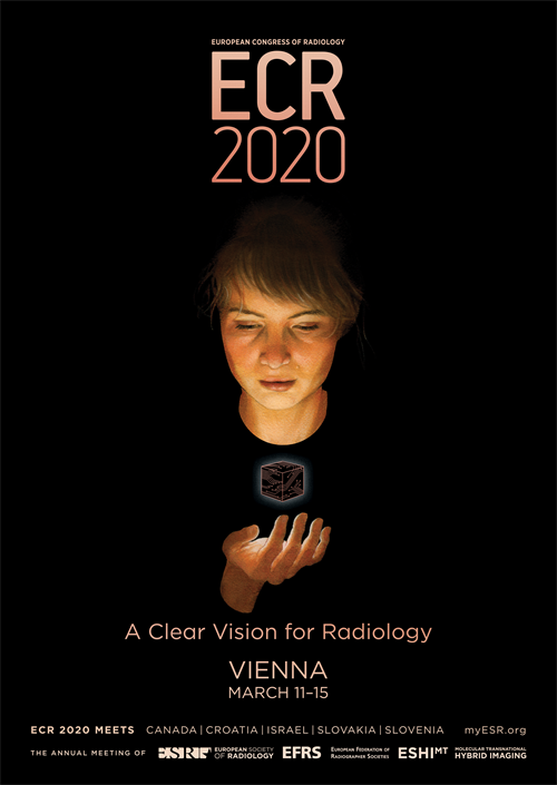 The poster for the ECR 2020 meeting, showing a young woman looking at a floating object