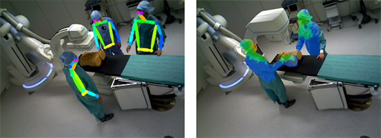 Ceiling-mounted RGB-D cameras are used to perceive the current operating room environment