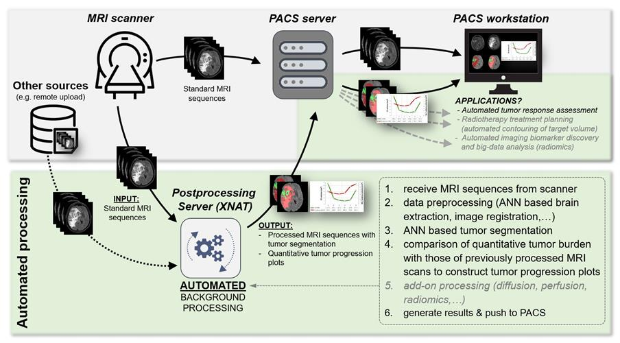 The ANN for tumor segmentation and quantitative volumetric tumor assessment is part of a scalable and fully automated processing pipeline for MRI exams implemented within the XNAT open-source imaging informatics software platform