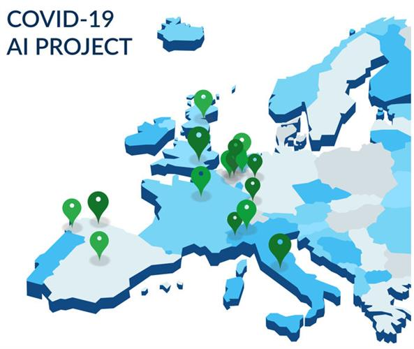 Map showing the European hospitals collaborating in the COVID-19 project, as of 20 March
