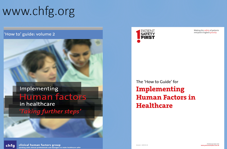 Chfg.org website plus images of guides from the Clinical Human Factors Group