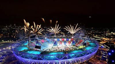 Fireworks are set off over the Olympic Stadium during the Opening Ceremony on 27 July. The closing ceremony takes place on Sunday evening, and the Paralympic Games will be held at the same venues from 29 August to 9 September. Image courtesy of London 2012.