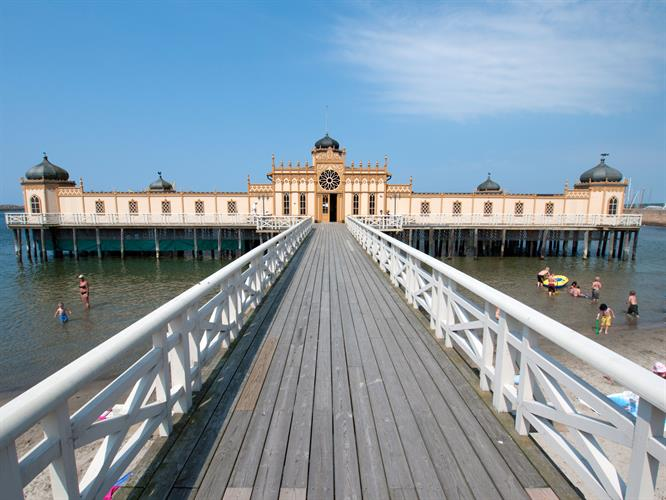 The historic pier and swimming pool in Varberg