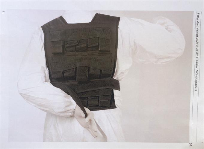 Back panel of the vest worn by the specialist nurse