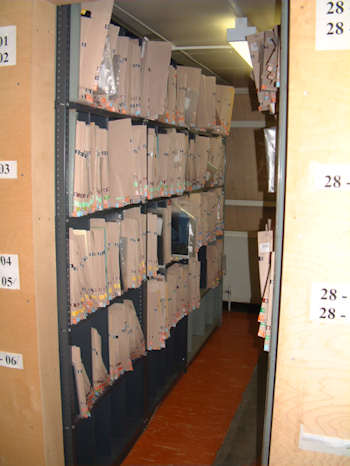 Storage room for film packets