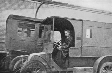 Marie Curie in one of her mobile x-ray units