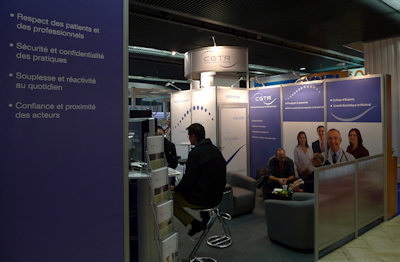 Teleradiology providers promoted their services in the exhibition hall during the JFR congress.
