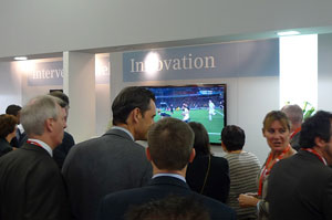 Siemens Healthcare JFR booth showing rugby World Cup final