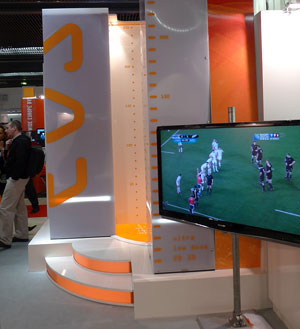 EOS JFR booth showing rugby World Cup final
